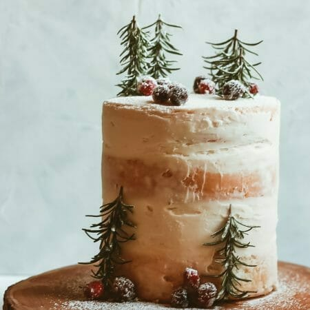 White Almond Cake with Cranberry Almond Buttercream