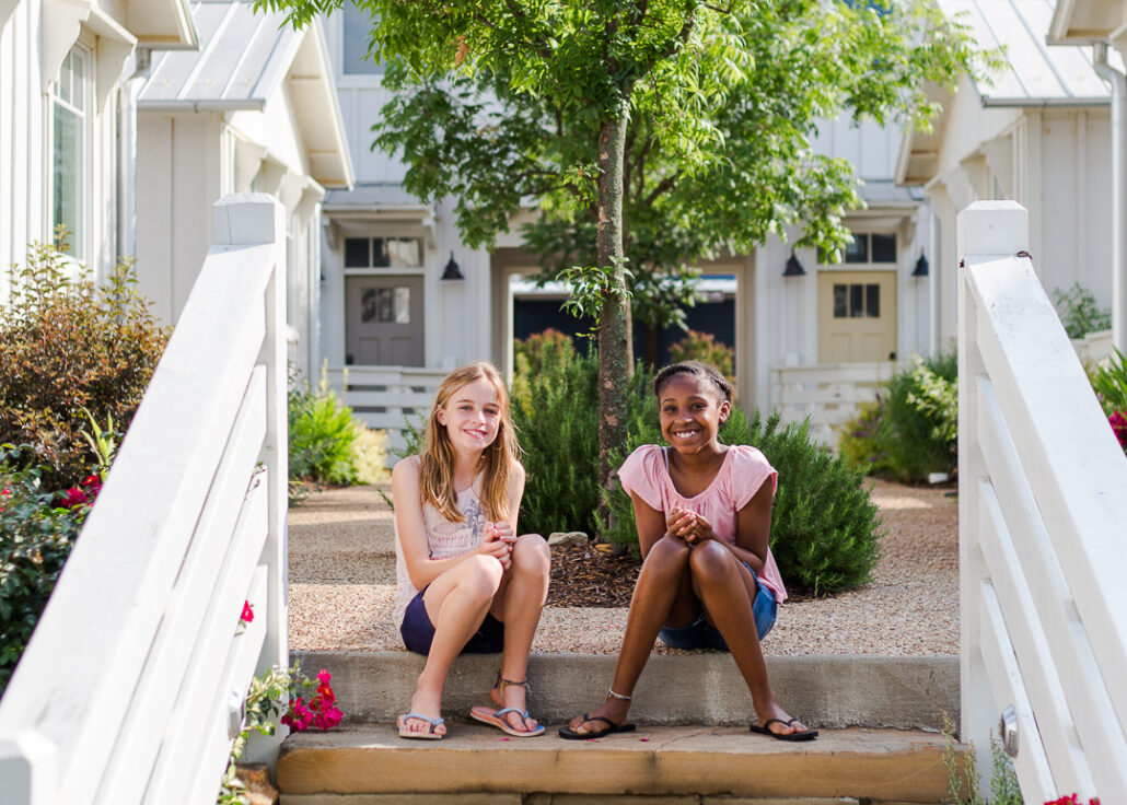 kids sitting on steps