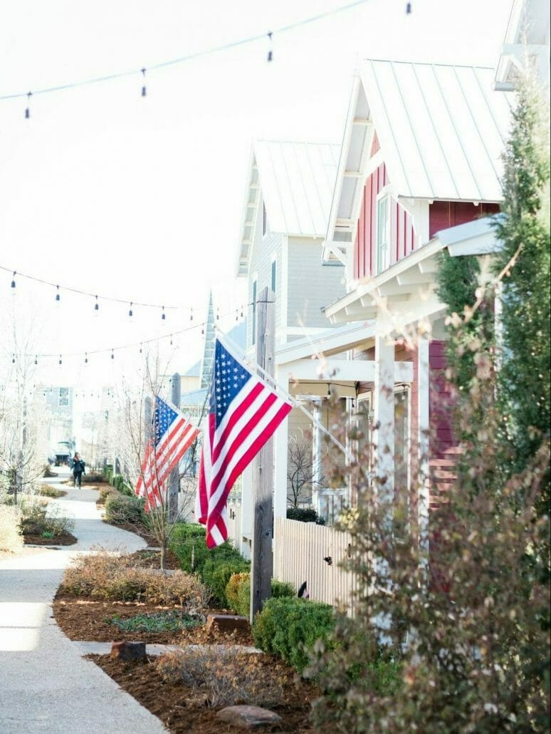 porch fronts with flags